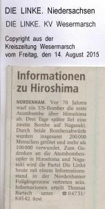 Informationen zu Hiroshima - Kreiszeitung Wesermarsch den 14. August 2015