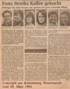 Internationaler Frauentag - Trotz Streik Kaffee gekocht - Kreiszeitung Wesermarsch vom 09. März 1994