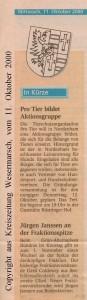 Jürgen Janssen - GAB - Pro Tier bildet  Aktionsgruppe - Kreiszeitung Wesermarsch den 11. Oktober 2000