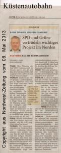 Küstenautobahn - SPD und Grüne vertrödeln wichtiges Projekt im Norden - Nordwest-Zeitung vom 08. Mai 2013