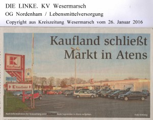 Kaufland schließt Markt in Nordenham-Atens - Kreiszeitung Wesermarsch vom 26. Januar 2016 - Seite 1
