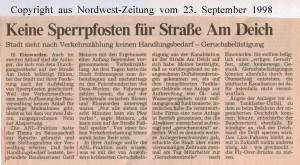 Keine Sperrpfosten für Straße Am Deich - Nordwest-Zeitung vom 23.September 1998