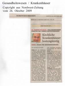 Kirchliche Krankenhäuser kostengünstig  - Nordwest-Zeitung vom 26. Oktober 2009