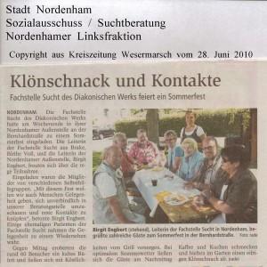 Klönschnack und Kontakte - Fachstelle Sucht des Diakonischen Werks - Kreiszeitung Wesermarsch vom 28. Juni 2010