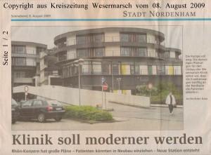 Klinik soll moderner werden - Kreiszeitung Wesermarsch vom 08.  August 2009 - Seite 1 von 2 Seiten
