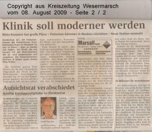 Klinik soll moderner werden - Kreiszeitung Wesermarsch vom 08.  August 2009 - Seite 2 von 2 Seiten