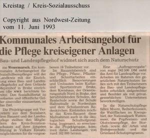 Kommunales Arbeitsangebot für die Pflege kreiseigener  Anlagen - Nordwest-Zeitung vom 11. Juni 1993