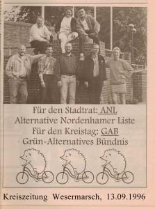 Kommunalwahl 1996 in Nordenham - Kreiszeitung Wesermarsch den 13. September 1996