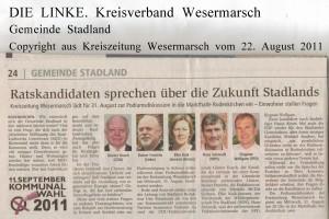 Kommunalwahl 2011 - Ratskandidaten sprechen über die Zukunft Stadlands - Kreiszeitung Wesermarsch vom  22. August 2011