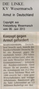 Konzept gegen Armut - Kreiszeitung Wesermarsch vom 06. Juni 2013