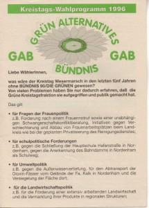 Kreistags-Wahlprogramm 1996 - Grün Alternatives Bündnis - GAB - Seite 1 von 8 Seiten