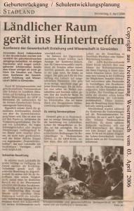 Ländlicher Raum gerät ins Hintertreffen - Kreiszeitung Wesermarsch den 03. April 2006