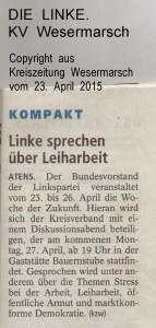 LINKE sprechen über Leiharbeit - Kreiszeitung Wesermarsch vom 23. April 2015