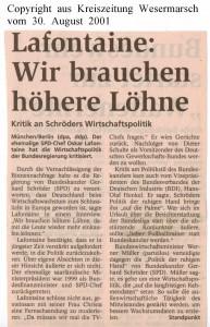 Lafontaine - Wir brauchen höhere Löhne - Kreiszeitung Wesermarsch vom 30.  August 2001