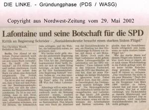 Lafontaine und seine Botschaft für die SPD -  Nordwest-Zeitung vom 29. Mai 2002