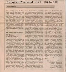Leinenzwang für Hunde - Leserbrief - Kreiszeitung Wesermarsch den 11. Oktober 2000