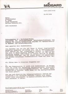 MIDGARD Deutsche Seeverkehrs-AG - Mitteilungsschreiben von Helmut Werner an den Stadtdirektor Wilfried Fugel - Bebauungsplan 37 - Nordenham-Blexen vom 22. September 1992 - Seite 1 von 4 Seiten
