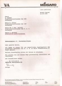 MIDGARD Deutsche Seeverkehrs-AG - Mitteilungsschreiben von Helmut Werner an den Stadtdirektor Wilfried Fugel - Bebauungsplan 37 - Nordenham-Blexen vom 22. September 1992 - Seite 2 von 4 Seiten