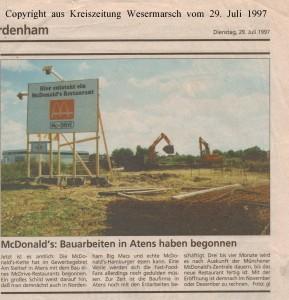 McDonalds - Bauarbeiten in Atens haben begonnen - Kreiszeitung Wesermarsch vom 29. Juli 1997