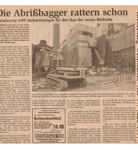 Metaleurop - Die Abrißbagger rattern schon - Kreiszeitung Wesermarsch vom 09. März 19941