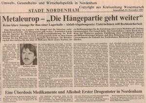 Metaleurop - Die Hängepartie geht weiter - Kreiszeitung Wesermarsch vom 23. November  13. November 1991