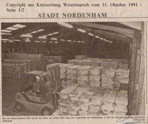 Metaleurop prüft  Alternativen zur Deponierung des Jarositschlamms - Kreiszeitung Wesermarsch vom 31. Oktober  1991 - Seite 1  von 2 Seiten