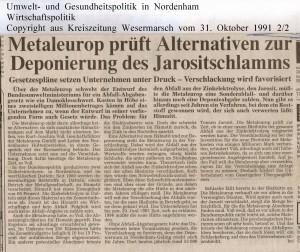Metaleurop prüft  Alternativen zur Deponierung des Jarositschlamms - Kreiszeitung Wesermarsch vom 31. Oktober  1991 - Seite 2  von 2 Seiten