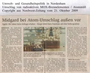 Midgard bei Atom-Umschlag außen vor - Nordwest-Zeitung vom 21. Oktober 2009