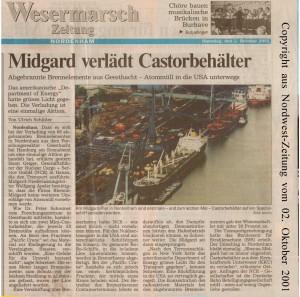 Midgard verlädt Castorbehälter - Nordwest-Zeitung vom 02. Oktober 2001