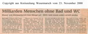 Milliarden Menschen ohne Bad und WC  - Kreiszeitung Wesermarsch vom 23. November 2000