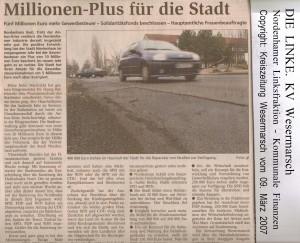 Millionen-Plus für die Stadt - Kreiszeitung Wesermarsch vom 09. März 2007