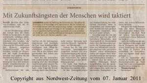 Mit Zukunftsängsten der Menschen wird taktiert - Leserbrief - Nordwest-Zeitung vom 07. Januar 2011