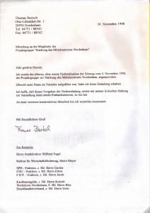 Mitteilung an die Mitglieder der Stärkung des Mittelzentrums Nordenham - 24. November 1998
