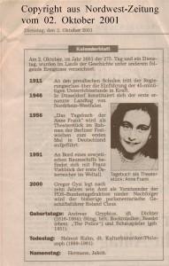NWZ-Kalenderblatt - Anne Frank - Gregor Gysi - Nordwest-Zeitung vom 02. Oktober 2001