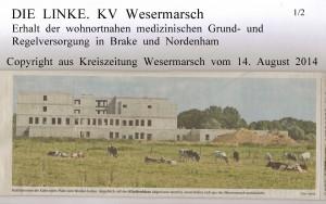 Neubau wird angeblich abgerissen  -  Kreiszeitung Wesermarsch vom  14. August  2014  -  Seite 1  von  2  Seiten