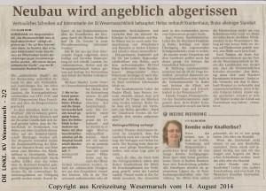 Neubau wird angeblich abgerissen  -  Kreiszeitung Wesermarsch vom  14. August  2014  -  Seite 2  von  2  Seiten2