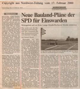 Neue Bauland-Pläne der SPD für Einswarden - Nordwest-Zeitung vom 17. Februar 2000