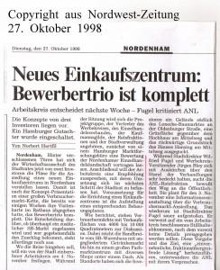 Neues Einkaufszentrum - Bewerbertrio ist komplett - Nordwest-Zeitung vom 27. Oktober 1998