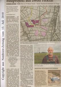 Norger-Leitung - Bauprojekt auf zwölf Hektar - Nordwest-Zeitung vom 13. Juli 2010 - Seite 1 von 4 Seiten