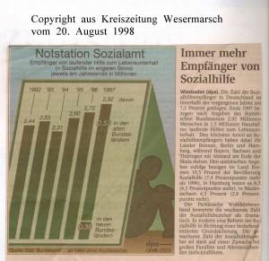 Notstation Sozialamt  - Kreiszeitung Wesermarsch vom 20. August 1998