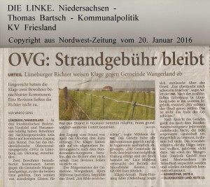 OVG - Strandgebühr bleibt   -  Nordwest-Zeitung vom 20. Januar 2016 - Seite 1