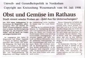 Obst und Gemüse im Rathaus - Kreiszeitung  vom 04. Juli 1998