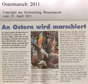 Ostern wird marschiert  - Kreiszeitung Wesermarsch vom 23.  April 2011