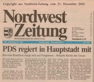 PDS regiert in Hauptstadt mit - Nordwest-Zeitung vom 21. Dezember 2001