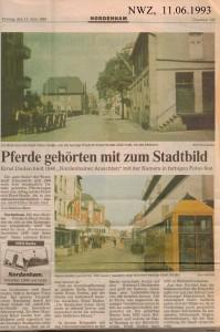 Pferde gehörten zum Stadtbild - Nordwest-Zeitung vom 11. Juni 1993