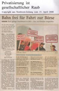 Privatisierung - Bahn frei für Fahrt zur Börse -Nordwest-Zeitung vom 15. April 2008