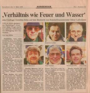 Rücktritt von Oskar Lafontaine - Verhältnis wie Feuer und Wasser - Nordwest-Zeitung vom 13. März 1999
