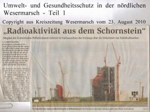 Radioaktivität aus dem Schornstein - Kreiszeitung Wesermarsch vom 23. August 2010 - Teil 1