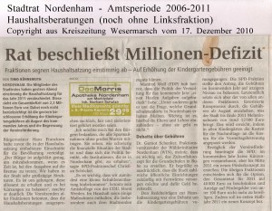 Rat beschließt Millionen-Defizit - Kreiszeitung Wesermarsch vom 17. Dezember 2010