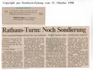 Rathaus-Turm - Noch Sondierung - Nordwest-Zeitung  vom 15. Oktober 1998